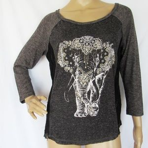 Miss Me Long Sleeve Scoop Neck Elephant  Shirt Top